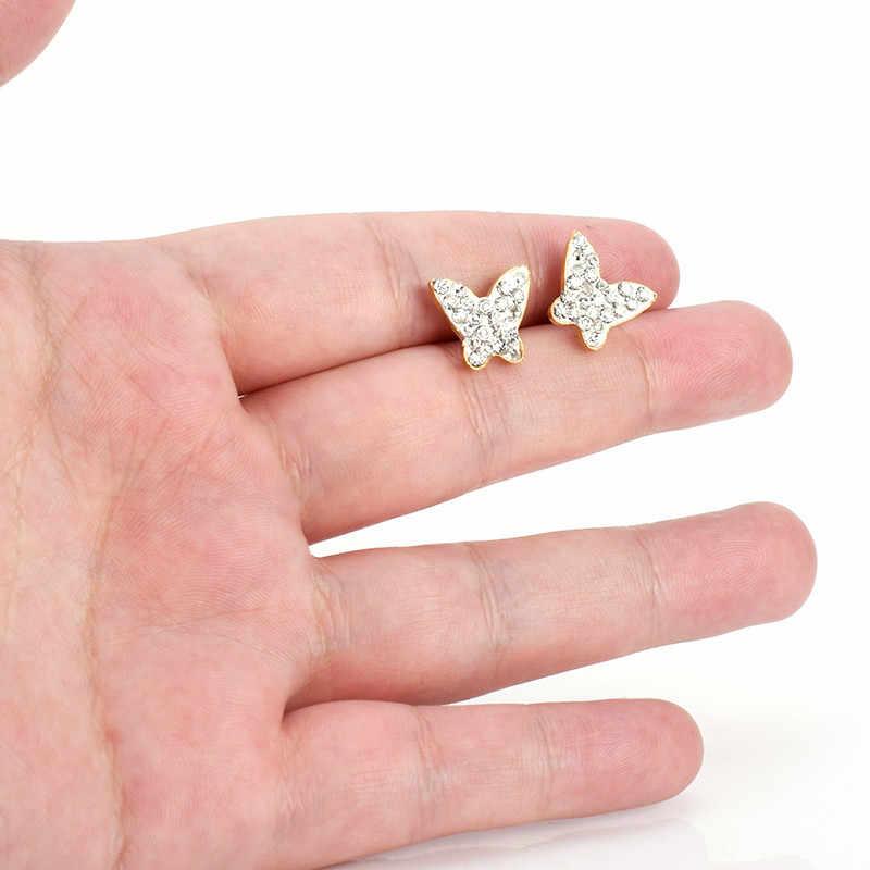 SOITIS paslanmaz çelik kelebek şekli düğme küpe tam Set Bling Rhinestone kristal taş küpe takı kadınlar için