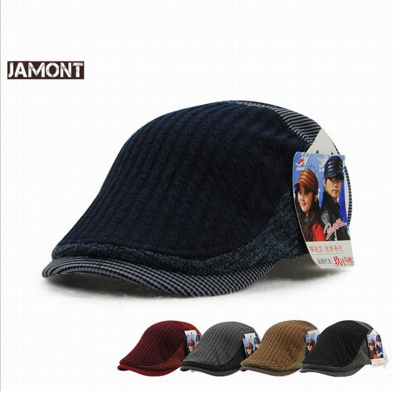 JAMONT Cap Men Berets Knitted-Hats Warm Winter Fashion Men's Women Gorra Visor Casquette