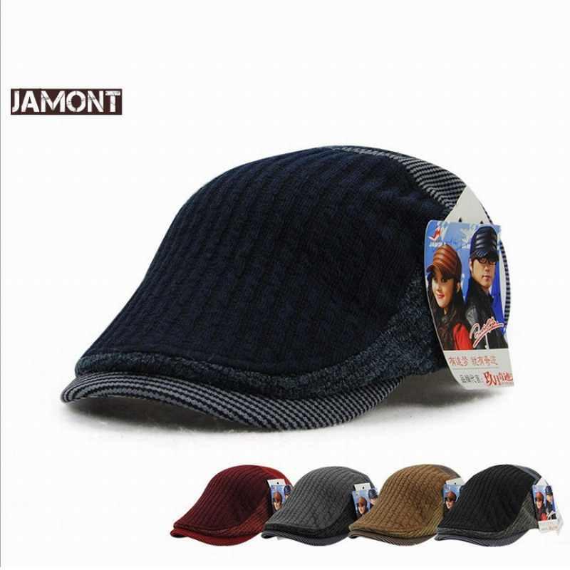 ad7c1595275 JAMONT Fashion Winter Cap Men Visors Knitted Hats Warm Visor Men s Berets  Winter Flat Hat Casquette