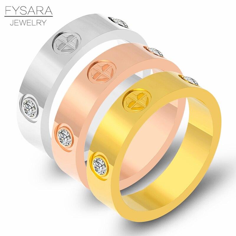 FYSARA Titan Stahl Klassische Luxus Berühmte Marke Kreuz Hochzeit Kristall Liebe Ring Für Frauen Männer Gold Farbe Liebhaber Schmuck