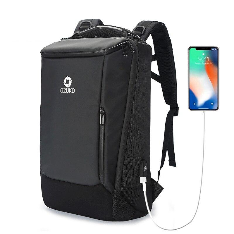 OZUKO Men Backpack 2018 Business Backpack USB 17inch Laptop Backpack Fashion Schoolbag Multifunction Waterproof Travel Backpack