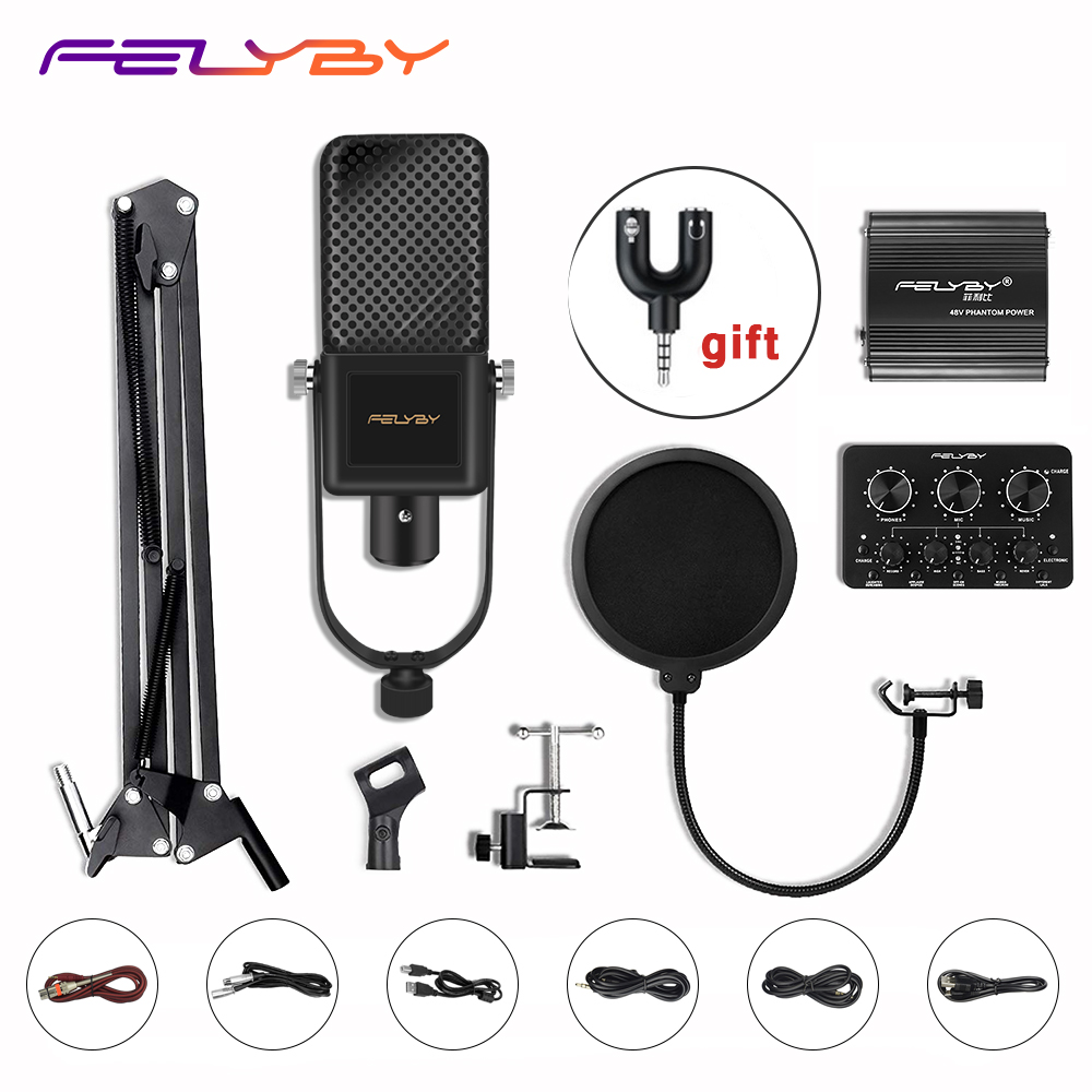 Consumer Electronics Felyby New Luminous Professional Bm1000 Karaoke Condenser Microphone For Computer Laptop Recording Bm 800 Upgraded Desktop Mic Microphones