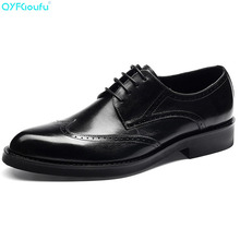 Genuine Cow Leather Luxury Business Formal Shoes Men Designer Dress Shoes Black Brown Lace-up Fashion Brogue Shoes недорого