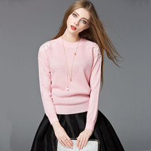 цена на Spring Women's Long Sleeve Lace Panel Sleeve Turtleneck Round Neck Pink Sweater