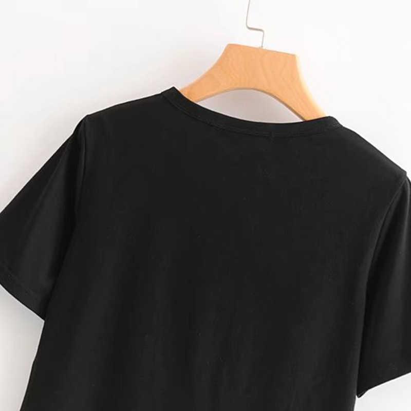 קיץ יבול למעלה נשים Tshirts שחור O-צוואר רטרו נשי unicornio חולצות Harajuku סקסי צמרות בגדי נשים טי חולצה