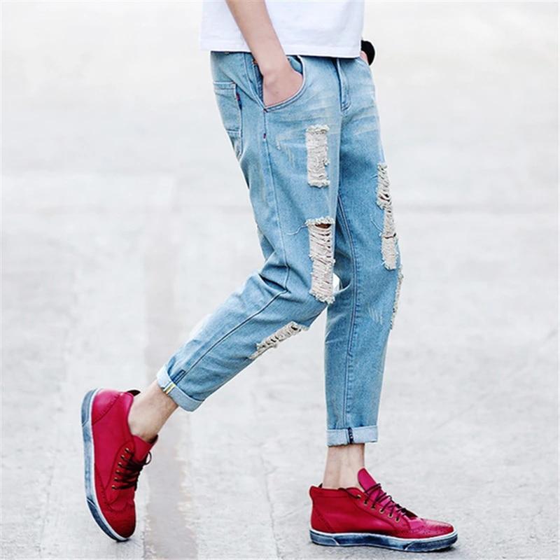 Homme Denim Pantalon Slim Skinny Long Jeans Rétro Trou lavé Motard Moto Pantalon