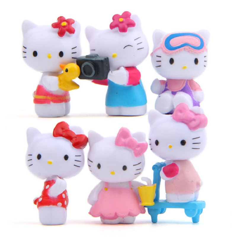 Hello Kitty Toys Set : Pcs set mini kawaii hello kitty figures toys diy