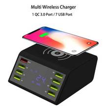 Wireless charger station for samsung huawei fast wireless xiaomi iphone new smart lcd display dock