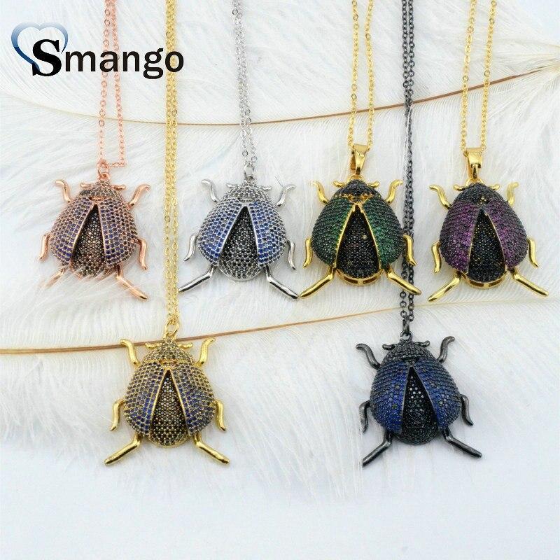 3 Stück, Die Regenbogen Serie Frauen Mode Die Insekten Form Cz Prong Einstellung Halskette, 6 Farben, Kann Mischen