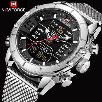 NAVIFORCE 9153 Waterproof Miliary Dual Display Sport Watch Wrist Watch Clock Silver