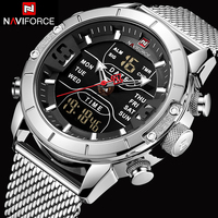 NAVIFORCE Mens Watches Top Brand Luxury Men Mesh Strap 30M Waterproof Miliary Dual Display Sport Watch Wrist Watch Clock Silver