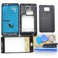 Original Completa Habitação Completo para Samsung Galaxy S2 i9100 Tampa Traseira Oriente Moldura do Quadro + Frente Lente de Vidro + Ferramentas preto Branco