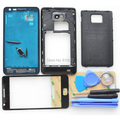 Original i9100 Complete Full Housing for Samsung Galaxy S2 Back Cover Middle Frame Bezel +Front Glass Lens+Tools Black White