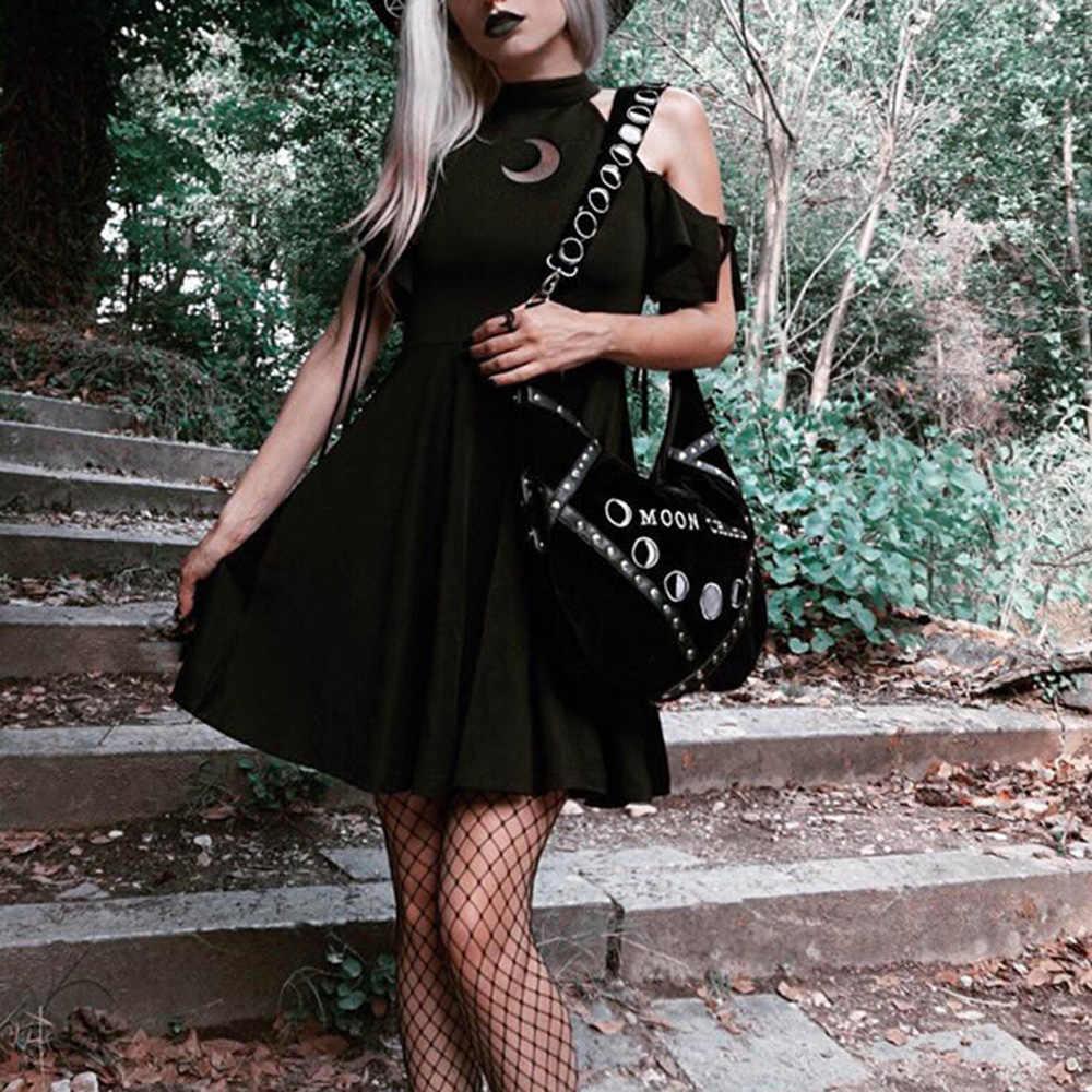 Женское черное готическое платье с лямкой на шее, летнее сексуальное мини-платье с открытыми плечами, 2019, милое японское короткое платье в готическом стиле