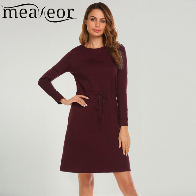 Meaneor Women s Drawstring Waist Loose Dress Solid Autumn Round Neck Female  Robe High Waist Casual Ladies 9711d4171