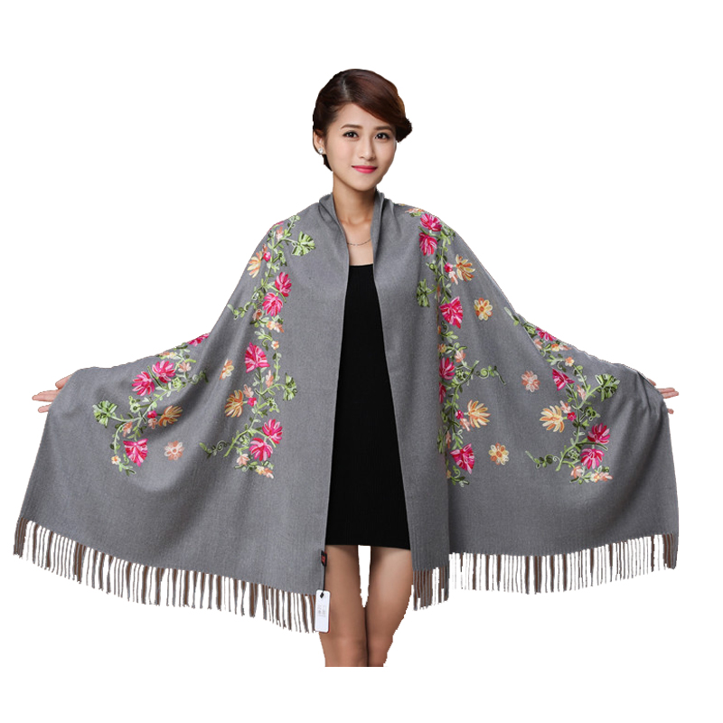 Fashion Brand Scarves Women Winter Scart Cashmere Embroider Flower Wrap Shawl 19 Colors Face Scarf Tassels Scarf Shawl