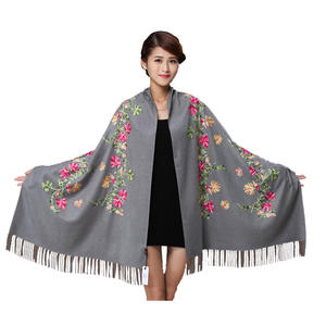Whhite Embroider Flower Pashmina Cashmere Scarf For Women Winter Warm Fine Tassels Scarf Shawl Fashion Shawl Scarves 011807
