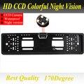 Para sony ccd hd coche cámara de visión trasera inversa de copia de seguridad cámara Europea Marco de la Matrícula Universal de visión nocturna con LED cámara
