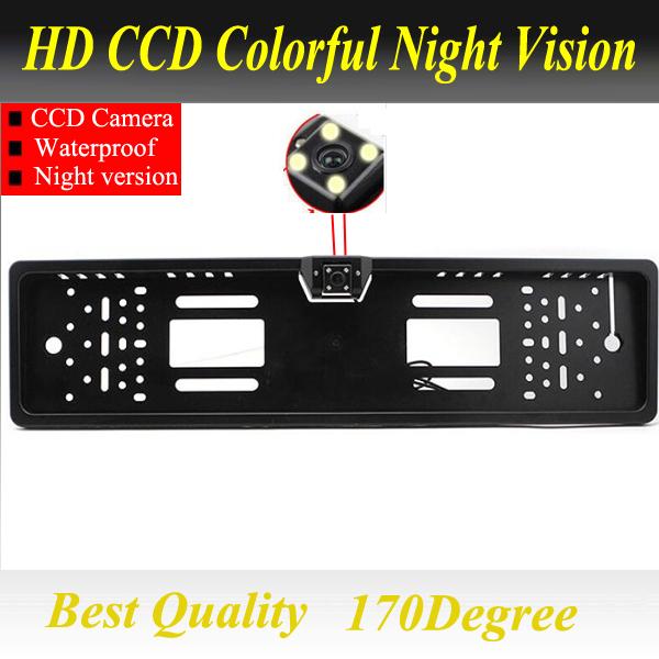 Prix pour Pour CCD HD vue arrière de voiture caméra de sauvegarde inverse Universel caméra Européenne Cadre de Plaque D'immatriculation de vision nocturne avec LED caméra