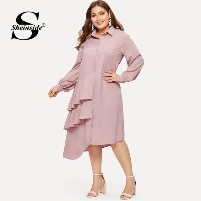 Sheinside Plus Size Pink Casual Ruffle Detail Shirt Dress Women 2019 Spring Asymmetrical Hem Midi Dresses Ladies Straight Dress 2