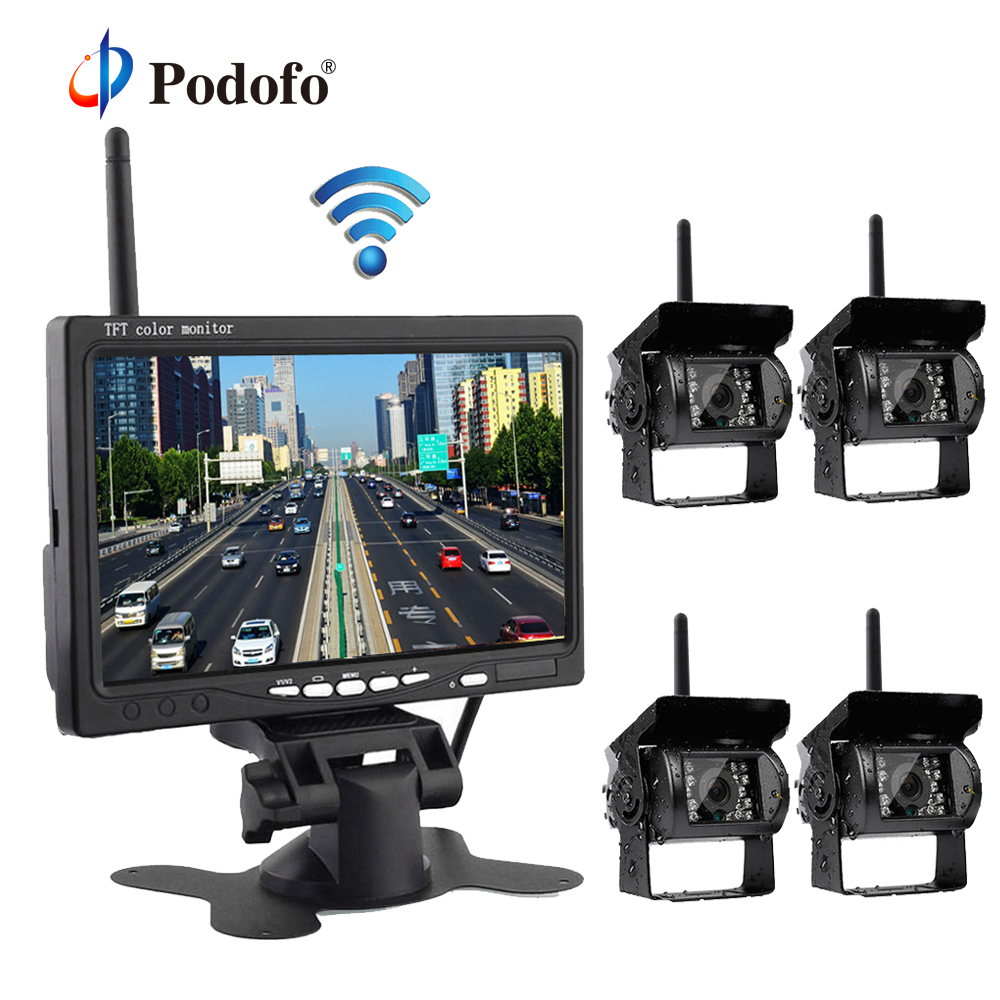 Podofo 7 Rear View Monitor with Waterproof IR Night Vision Wireless 4 Backup Cameras for RV Truck Bus Parking Assistance System wireless dual backup cameras parking assistance night vision waterproof rear view camera 7 monitor for rv truck trailer bus page 6