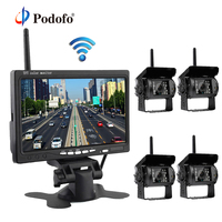 Podofo 7 Rear View Monitor with Waterproof IR Night Vision Wireless 4 Backup Cameras for RV Truck Bus Parking Assistance System