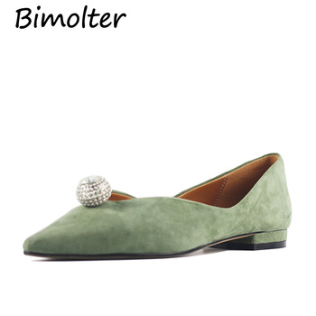 Bimolter Genuine Leather Flat Shoes Woman Sheep Suede Leather Loafers Spring Summer Green Casual Shoes Women Flats LFHA002
