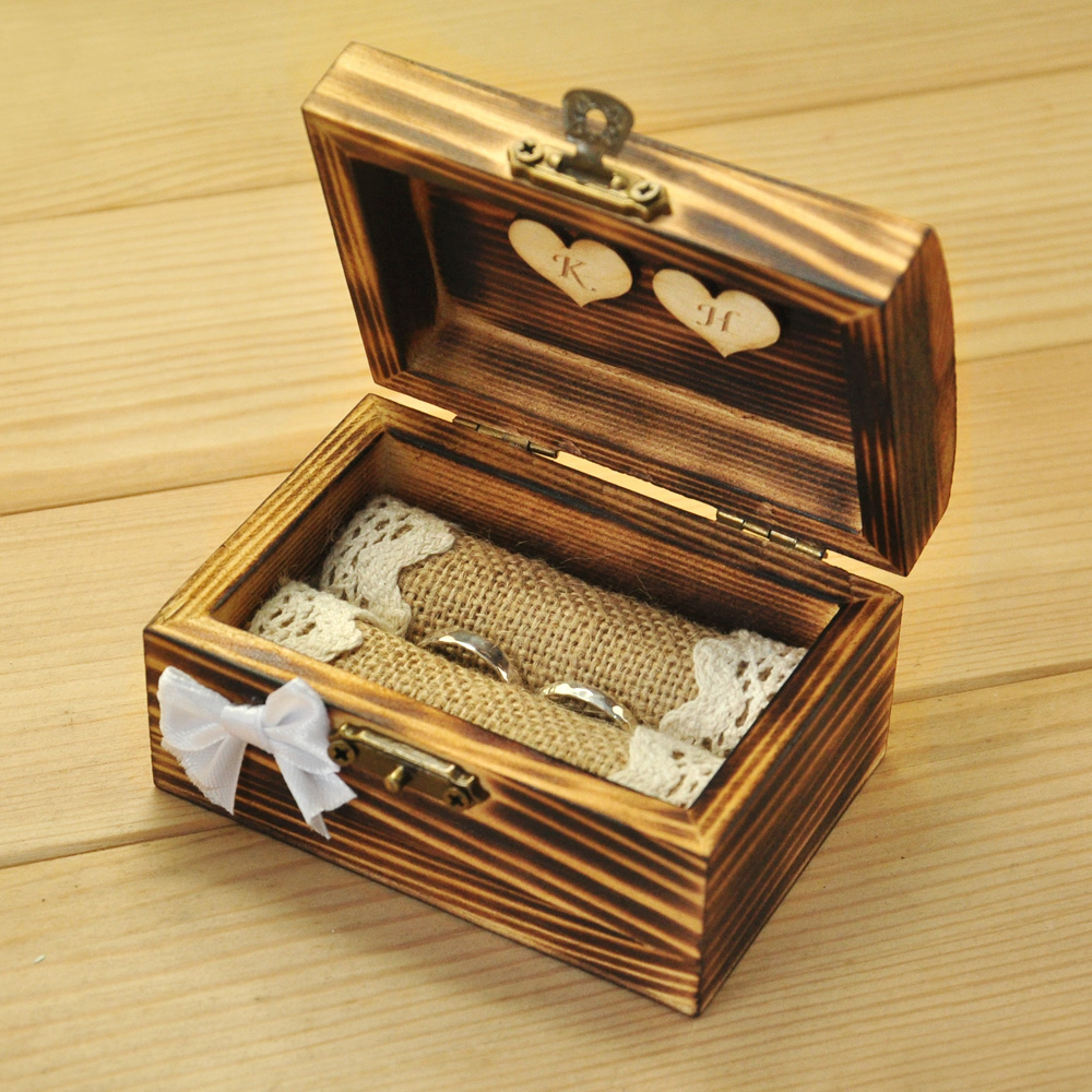 Personalized Wedding Ring Box, Custom Wooden Ring Holder With Hearts, Rustic Ring Bearer, Rustic Wedding Personalized Gift
