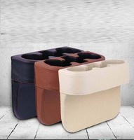 rete Storage Box Bag Car Seat Organizer Catcher Space Store gap Leak Proof seam black PU leather black/cream/brown color option