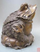 S03264 Fengshui Brąz Chiński Liści Lotosu B0403 jin chan Żaba Ropucha monety wealth Statua w Posągi i rzeźby od Dom i ogród na