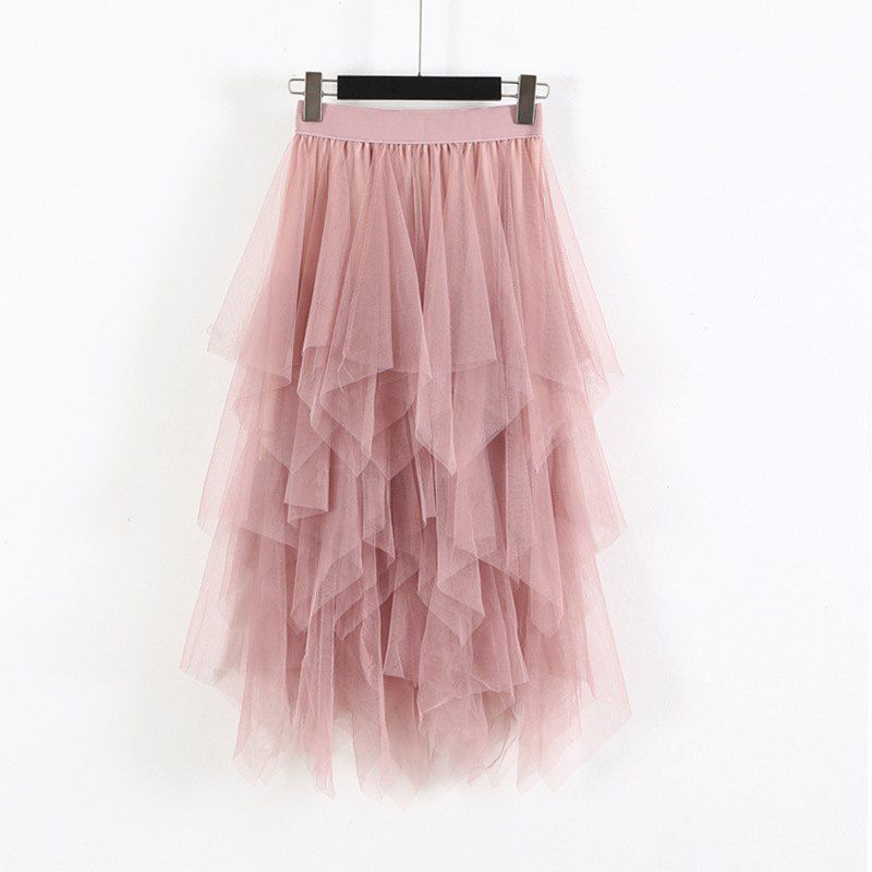 Elastic High Waist Skirts Women Solid Irregular Mesh Tulle Skirts Elegant A-Line Long Skirt Ladies Summer Autumn Skirt