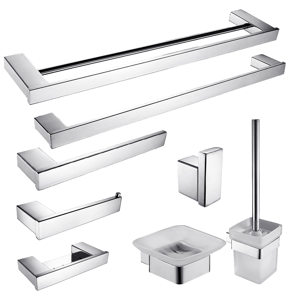 Bathroom fittings set - Modern Sus304 Stainless Steel Bath Hardware Sets Polished Chrome Bathroom Accessories Set Bathroom Products N7