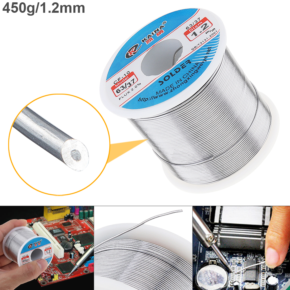 63/37 450g 1.2mm Tin Fine Wire Core Rosin Solder Wires with 2% Flux and Low Melting Point for Electric Soldering Iron63/37 450g 1.2mm Tin Fine Wire Core Rosin Solder Wires with 2% Flux and Low Melting Point for Electric Soldering Iron