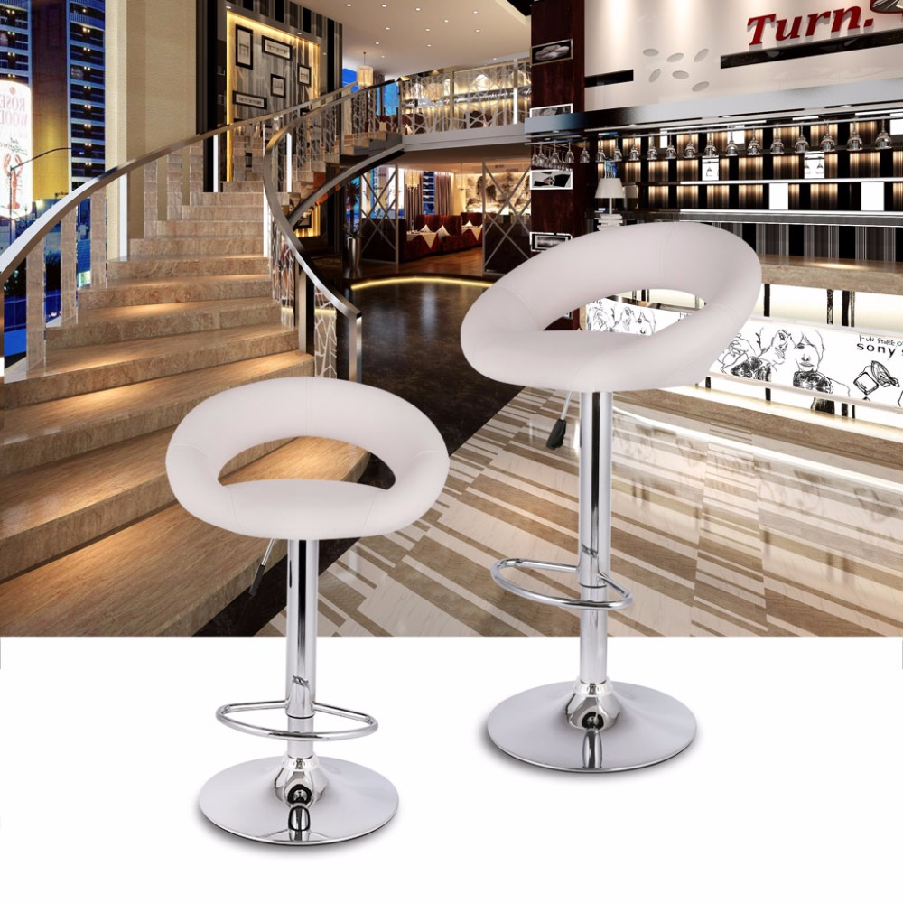 faux leather bar stools. 2pcs LANGRIA Gas Lift Height Adjustable Swivel Faux Leather Bar Stools Chairs With Crescent Shaped Backrest Chromed Base -in From Furniture On