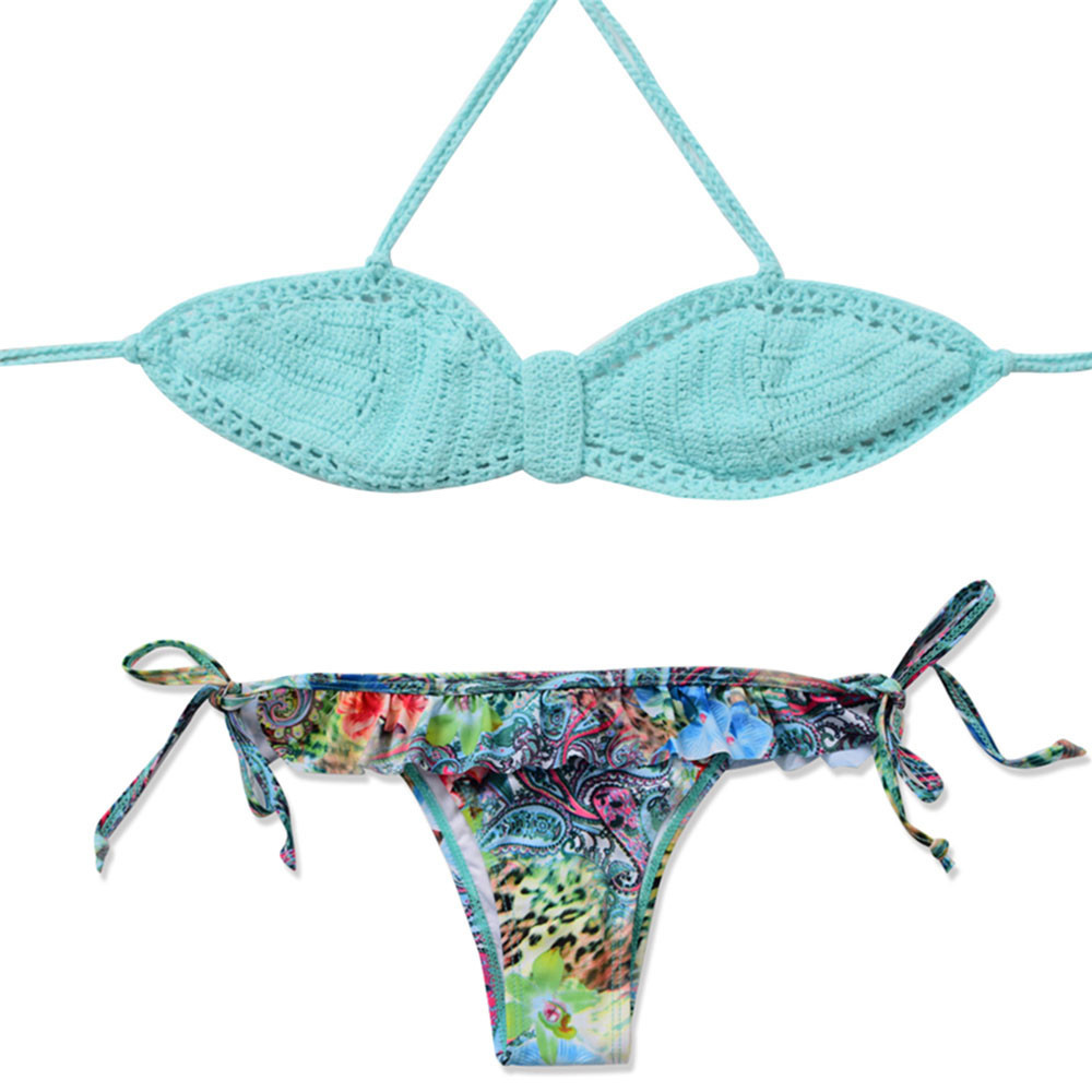 Women Print Knitting Bikini Swimsuit Bikini Beachwear Swimwear Bathingsuit biquinis feminino 2018 brasileiro zaful swimwear mayo