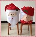 1 UNID Encantadora Mr & Mrs Santa Claus Navidad Comedor Silla cubierta de Asiento de La Contraportada Capa Partido Casero de la Decoración de Navidad Tabla de Accesorios
