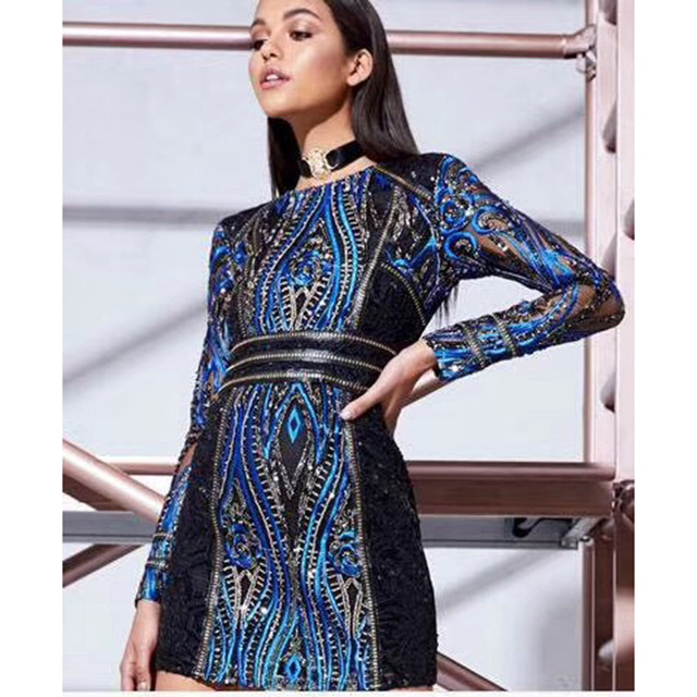 41542573a11 Women Sequined Long Sleeve Bandage Dresses 2018 New Fashion Autumn Sexy  Empire Midi Dress Casual Night Club Wear Winter Dresses