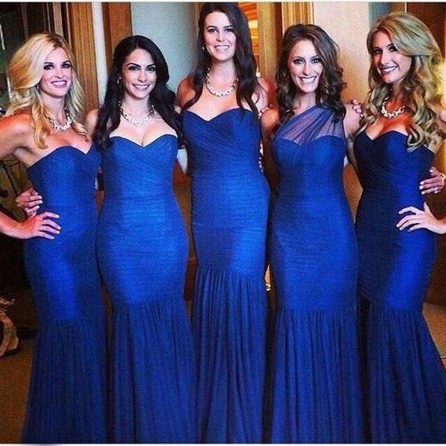 Azul Royal Vestidos de Dama de honra Da Sereia Querida Longo Bridemaid Vestido Fora do Ombro Vestido de Dama de Honra Baratos Vestido Até O Chão Plissado
