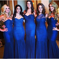 Royal Blue Bridesmaid Dresses Mermaid Sweetheart Long Bridemaid Dress Off Shoulder Cheap Bridesmaid Gown Pleated Floor Length