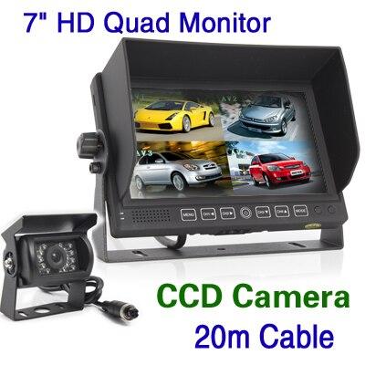 freeshipping  KS315  7inch HD Color TFT Quad Split Monitor + CCD Rear View Camera Truck