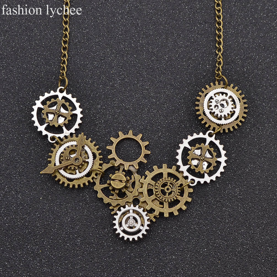 jewelry time necklace sonao punk gear a women vintage steampunk gift bronze metal cat net men v pendant