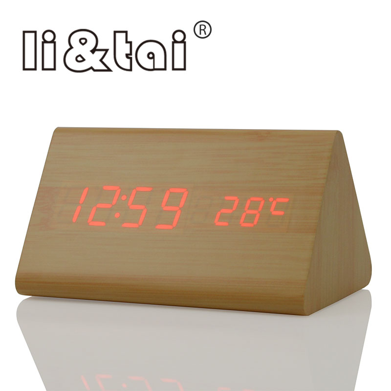 Bamboo Wooden LED Alarm Clock Temperature Sounds Control Calendar Wood Display Electronic Digital Table Clocks
