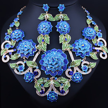 Hand painted 3D Flowers Necklace Earrings Set With Rhinestones Fashion Bridal Wedding Jewelry Set
