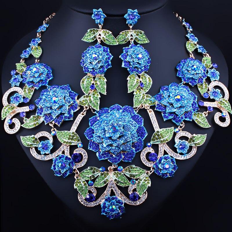 Pintado a mano 3D Flores Pendientes Del Collar Con Diamantes de Imitación de Joy