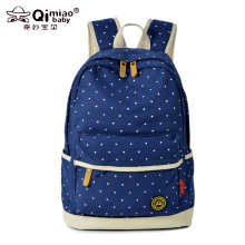 2017 New Women's Backpacks Printed Wave Point Canvas Shoulder Bag Large Capacity School Bag Middle Students Backpack Campus Wind