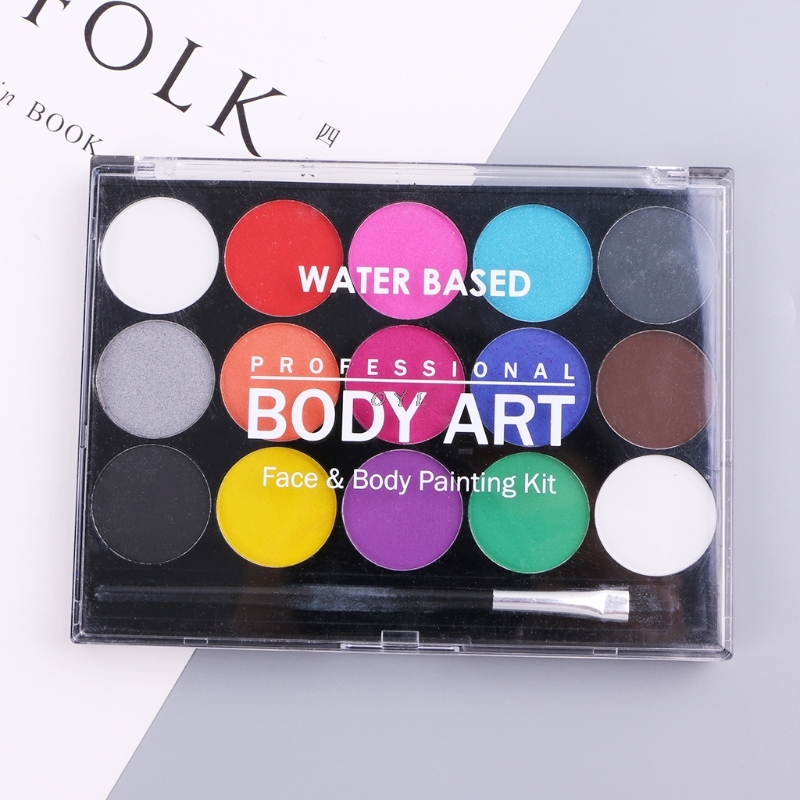 15 Colors Body Makeup Non Toxic Water Paint Oil Body Face Painting Kit With Brush For Christmas Fancy Carnival Vibrant Party15 Colors Body Makeup Non Toxic Water Paint Oil Body Face Painting Kit With Brush For Christmas Fancy Carnival Vibrant Party