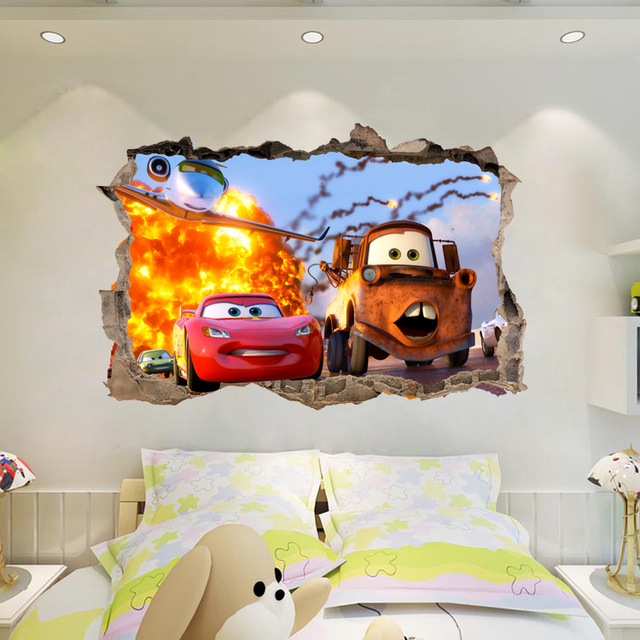 Boy Sticker Lightning McQueen Cartoon Cars Home Break The Wall 3D Wall Stickers Vinyl Decal Decor  750