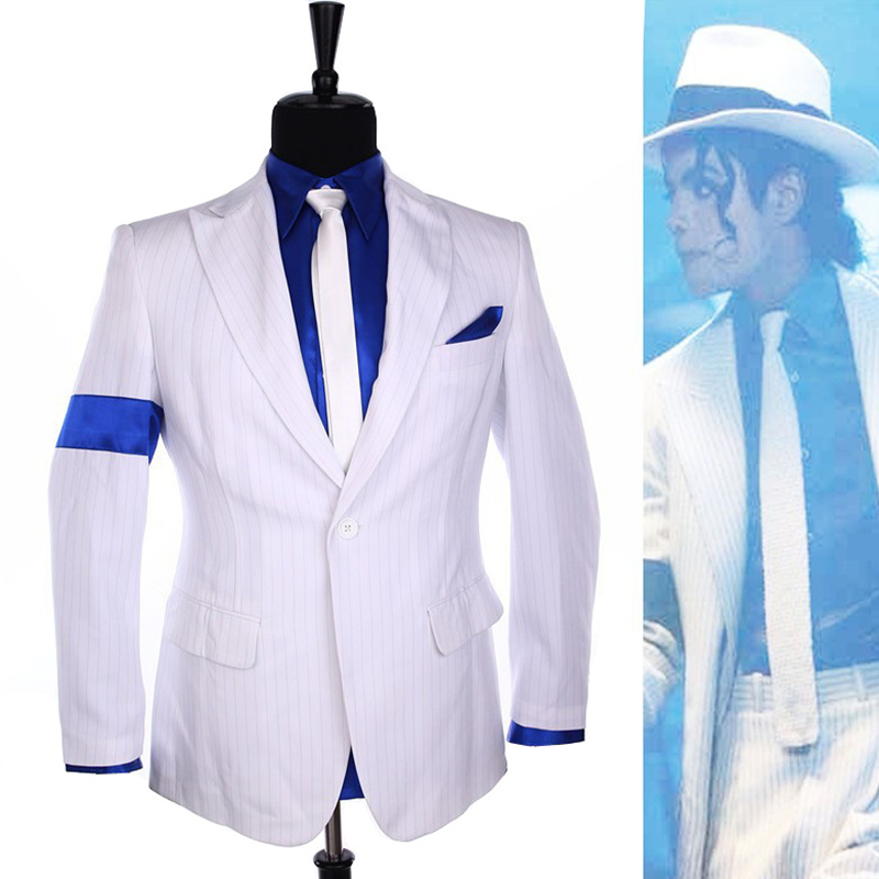 Rare MJ Michael Jackson Smooth Criminal Classic White Stripe Skinny Party Casual Suit FULL Outfit