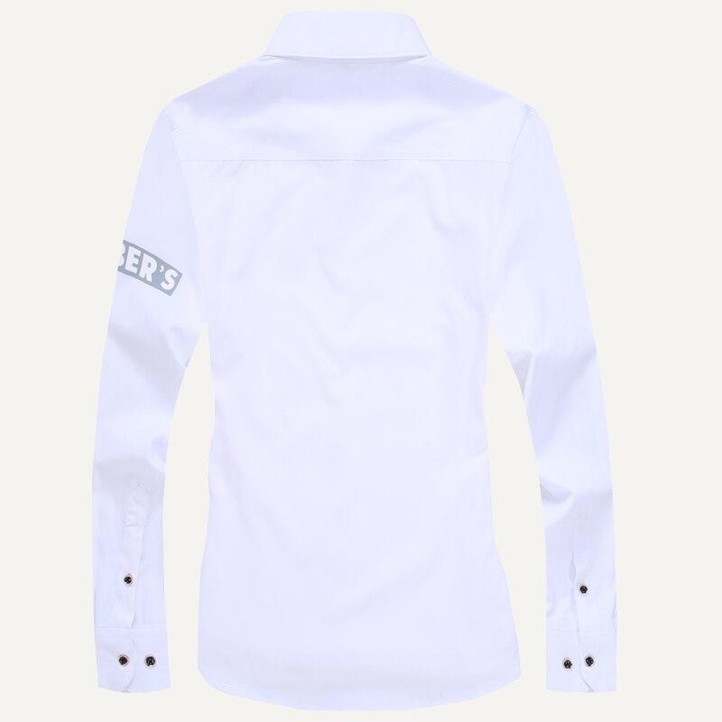 Men long-sleeve shirt Korean style 2019 spring and autumn teenage boy fashion shirt male slim print letter blue black white 2