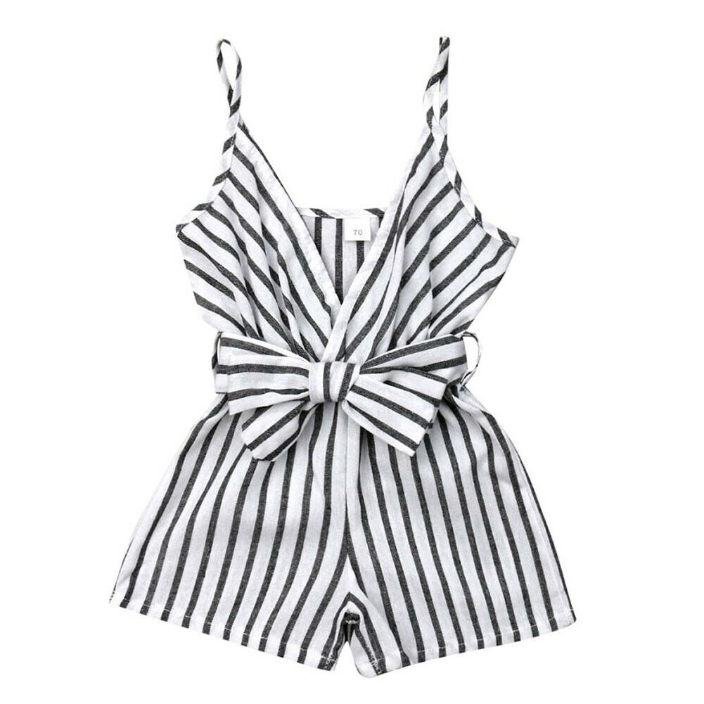 Infant Baby Girl Striped Bowknot   Romper   Jumpsuit Outfits Newborn Sleeveless One-Piece Summer Clothes